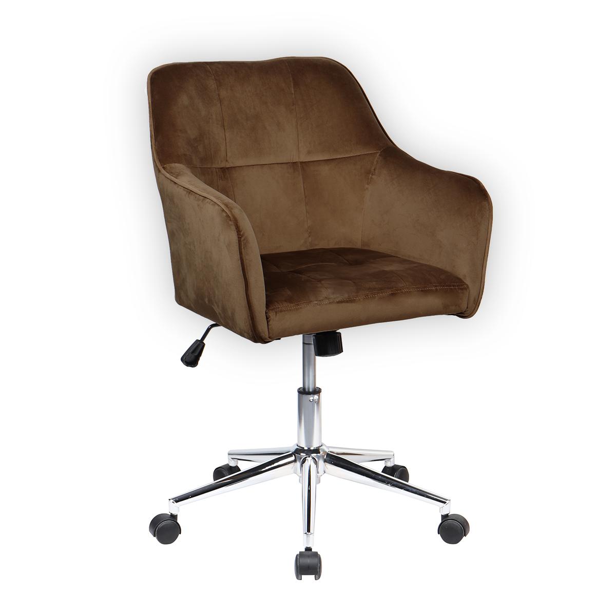 90359 SVITA JAKE Schreibtischstuhl mit Armlehnen Höhenverstellbar Drehstuhl mit Rollen Samt-Bezug Braun