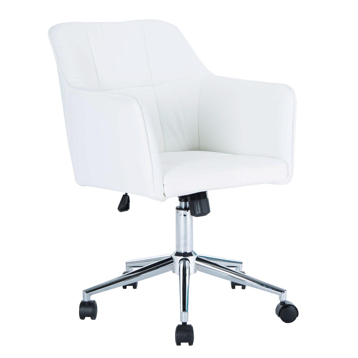 90357 SVITA JAKE Schreibtischstuhl mit Armlehnen Höhenverstellbar Drehstuhl mit Rollen Kunstleder Weiß