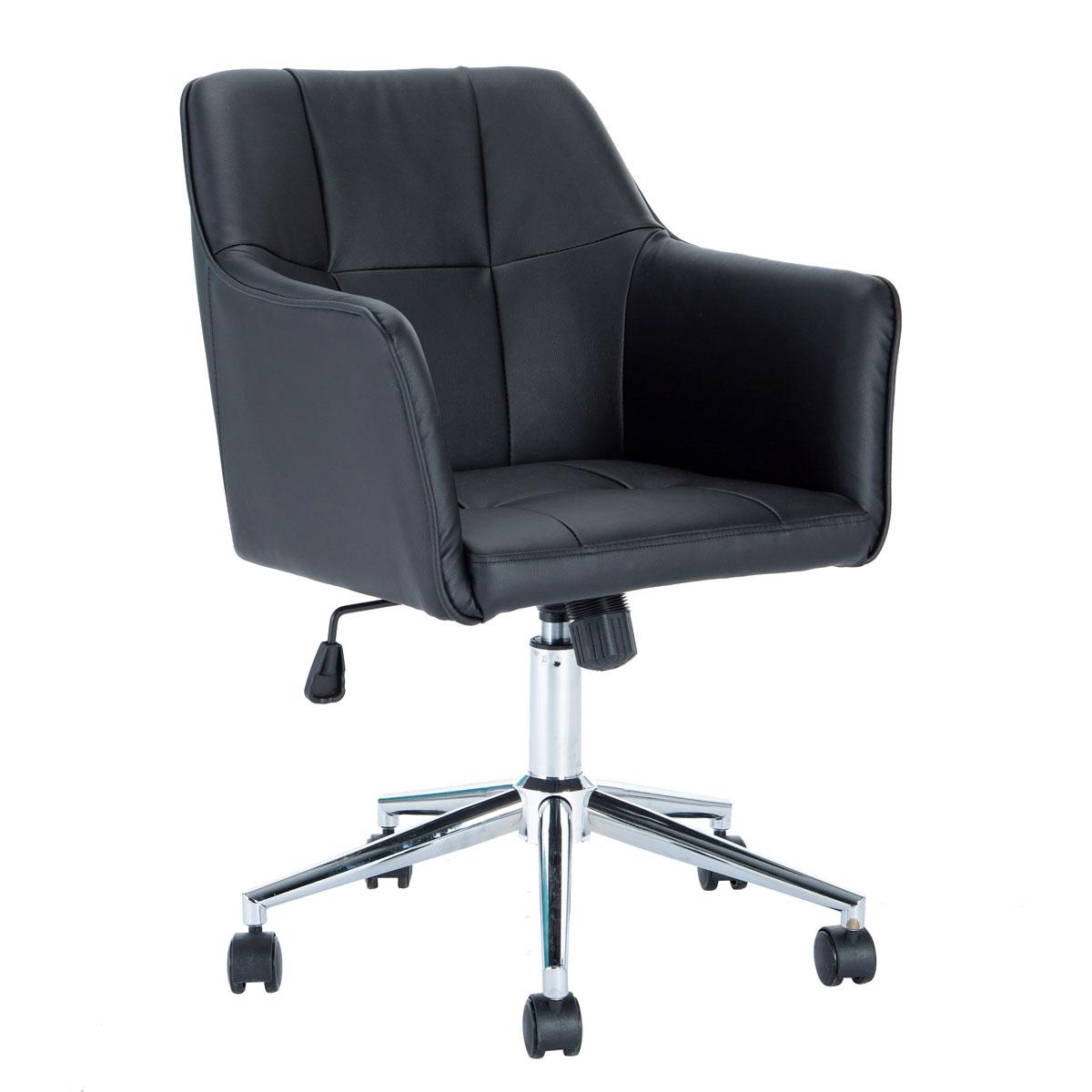 90358 SVITA JAKE Schreibtischstuhl mit Armlehnen Höhenverstellbar Drehstuhl mit Rollen Kunstleder Schwarz