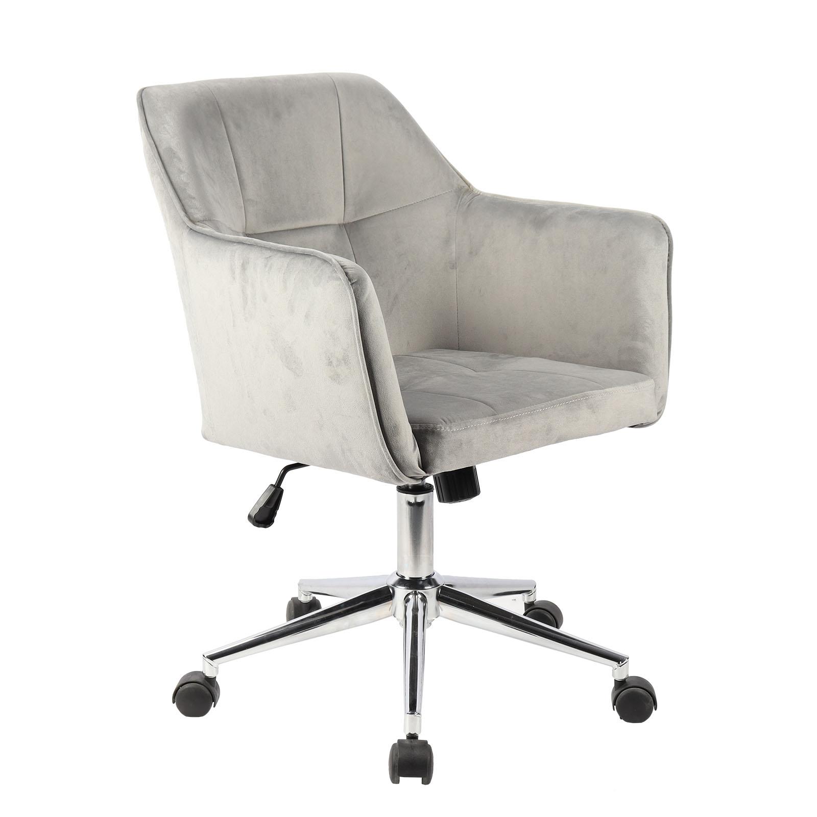 91361 SVITA JAKE Schreibtischstuhl mit Armlehnen Höhenverstellbar Drehstuhl mit Rollen Samt-Bezug Grau